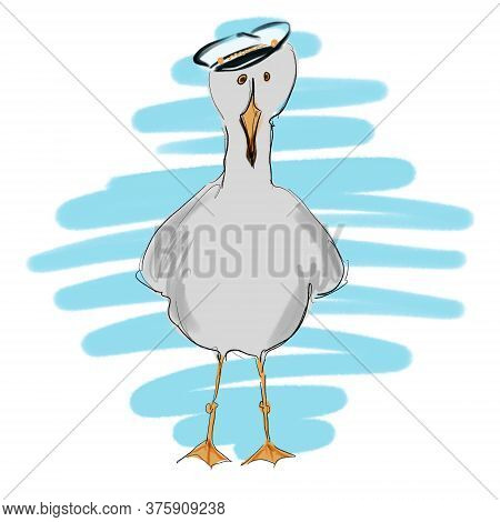 Cute Funny Illustration Of Seabird Seagull Sketch For Decor And Design