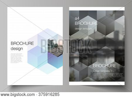 Vector Layout Of A4 Format Cover Mockups Design Templates With Abstract Shapes And Colors For Brochu