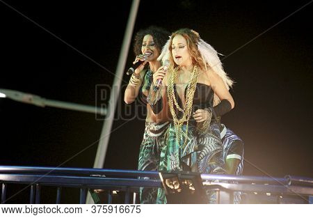 Salvador, Bahia / Brazil - February 16, 2015: Singers Daniela Mercuy And Ana Mameto Are Seen During