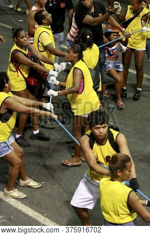 Salvador, Bahia / Brazil - February 16, 2015: Lambs - The Carnival Block Security Are Seen Working I