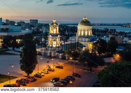 Evening Voronezh. Aerial View Of Pokrovsky Cathedral