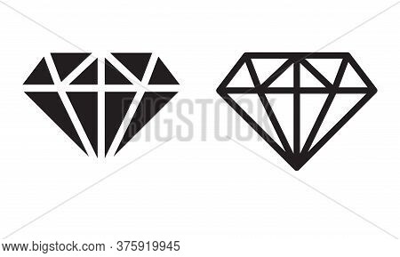 Vector Icon Diamond, Ector Black Diamonds Collection, Linear Outline Sign. Diamond Shapes Gemstone.