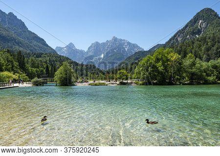 Panoramic View Of Jasna Lake In The Vicinity Of Kranjska Gora, Slovenia