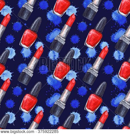 Watercolor Women's Red Lipstick Nail Polish Manicure Cosmetics Make Up Spot Seamless Pattern Texture