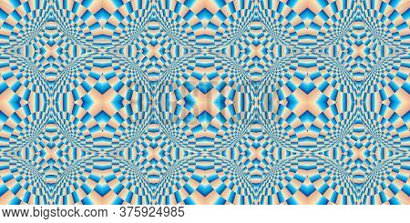 Distortion Of Background - Distortion Effect. Geometric Pattern With Visual Distortion Effect. Optic
