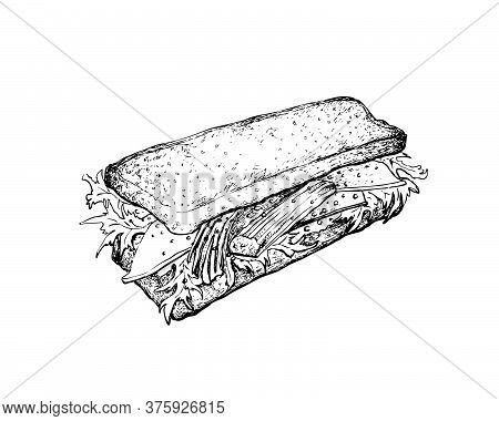 Illustration Hand Drawn Sketch Of Delicious Homemade Freshly Crab Stick Salad Sandwich Made Of Toast