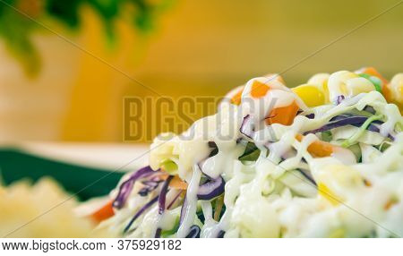 Vegan Salad With Mayonnaise Topping In Close Up View Include Carrot And Tomato And Corn And Cabbage