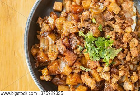 Stir Fried Pork With Onion And Garlic And Black Soy Sauce And Coriander Topping And Tofu With Natura