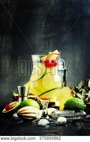 Alcoholic Cocktail Pisco Punch With Brandy, Syrup, Pineapple And Lime Juice, Ice, Garnished With Lim