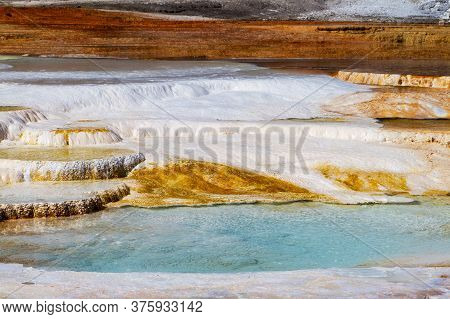 Close Up Of The Hot Springs And Travertine Formations At The Main Terrace Of Mammoth Hot Springs In