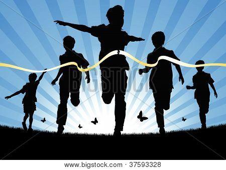 Running Boys In A Race