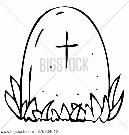 Scary, Creepy Grave In A Cemetery, Vector Decorative Element For Halloween Celebration In Doodle Sty