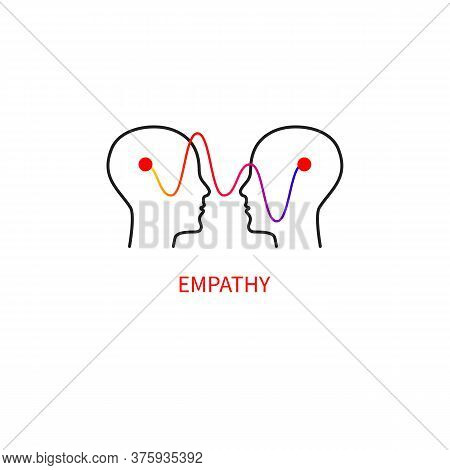Logo Empathy. Interpersonal Communication Abstract Icon. Two Profiles And A Wave.