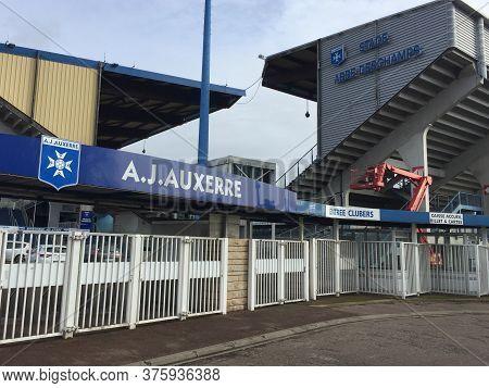 Auxerre , Bourgogne Franche Comte / France - 10 27 2019 : Aja Aj Auxerre Stadium Entrance