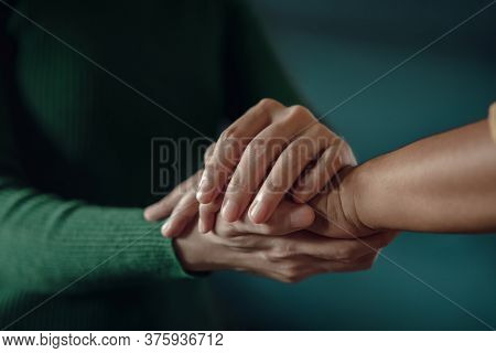 Ptsd Mental Health, Encouraging Concept. Touching With Comfortable Hand To Helping A Depressed Perso
