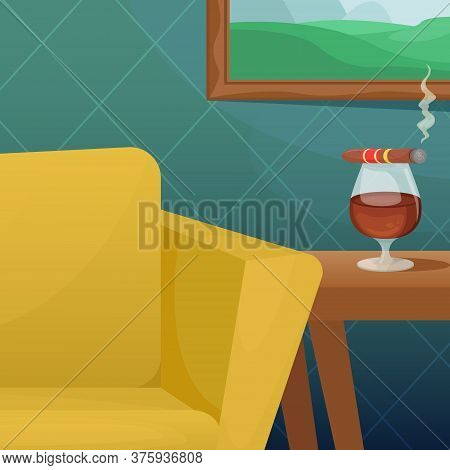 Vector Illustration Of A Cozy Room With A Comfortable Upholstered Chair, A Picture On The Wall And A