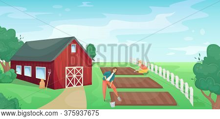 Retro Red American Barn In An Agricultural Field. Farming, Harvest. Subsistence Farming.
