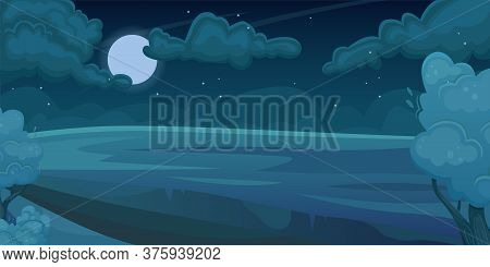 Horizontal Landscape Of A Night Summer Field With A Dirt Road. Natural Landscape. Agricultural Field