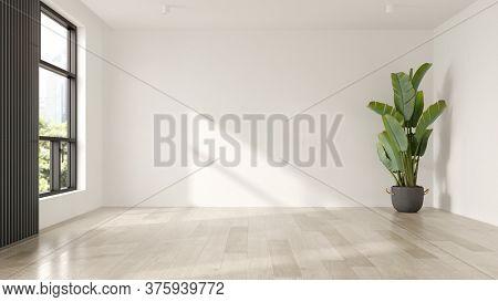 Interior of empty modern living room 3D rendering