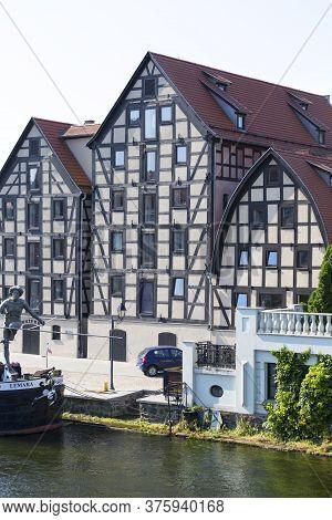 Bydgoszcz, Poland - June 26, 2020: Historic 18th-century Granaries On The Brda River