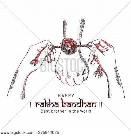 Happy Raksha Bandhan. Sketching Hands Of Brother And Sisterwith Red Shine, Sister Is To Tie The Knot