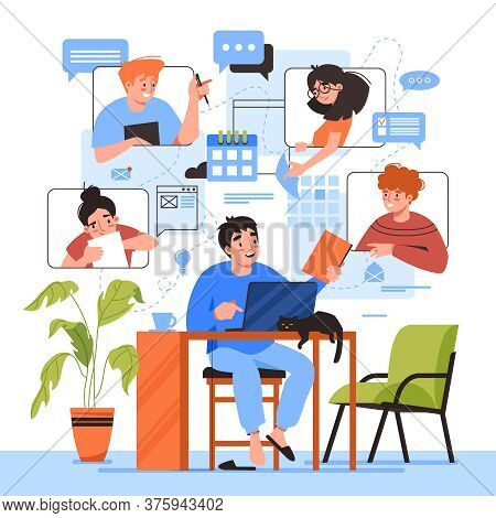 Teamwork Online Home Office, Team People Working, Video Conference And E-mail Communication, Vector