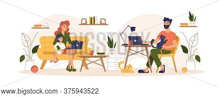 Home Routine And Work Freelance, Home Office Vector Flat Illustration. Mother And Father Freelancers