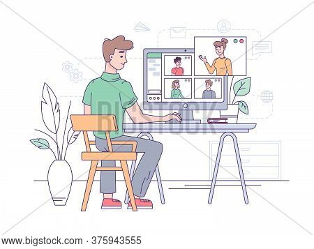Video Conference, Online Business Call And Office Communication, Vector Flat Illustration. Video Con