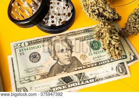 Money Weed. Cannabis In Economics. Sativa Thc Cbd. Joint Weed. Marijuana Weed Bud And Grinder.