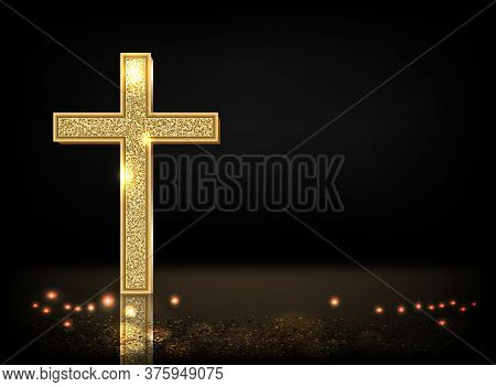 Gold Prayer Cross Realistic Vector Illustration. Precious Metal Jewel On Black Background. Christian