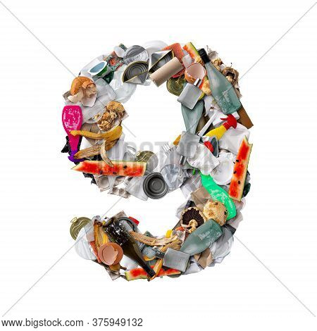 Number 9 Made Of Trash Isolated On White Background