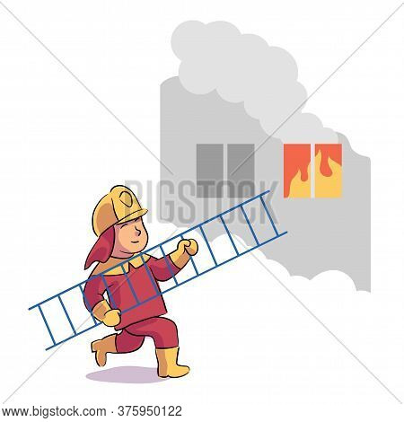 Boy Firefighter Wearing Uniform And Helmet Running With Ladder To Burning Window In House. Fireman F