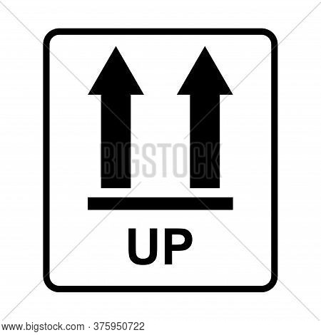 This Side Up Flat Icon Isolated On White Background. Package Symbol, Label Vector Illustration. Deli