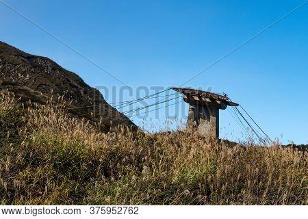 Old Sensuikyo Ropeway Constructions At The Foot Of Mount Aso, Active Vulcano On Kyushu Island, Japan