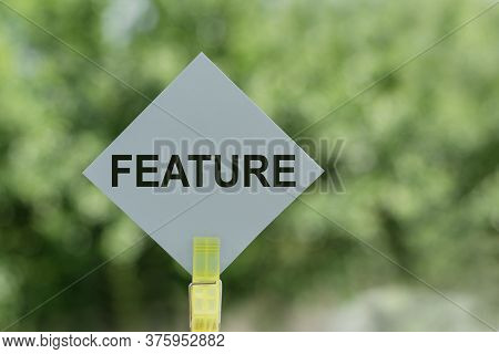 Feature Text On Blue Paper Stick On Green Background
