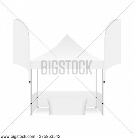 Marquee Tent For Events With Two Promo Flags And Demonstration Table, Isolated On White Background,