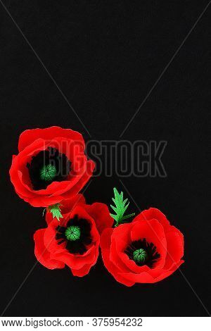 Diy Paper Red Poppy Anzac Day, Remembrance, Remember, Memorial Day Made Of Crepe Paper On Black Back