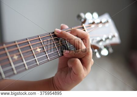 Close Up A  Girl  Hand Playing Guitar, Electric Guitar And Acoustic Guitar, Macro Abstract