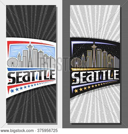 Vector Layouts For Seattle, Decorative Leaflet With Outline Illustration Of Famous Seattle City Scap