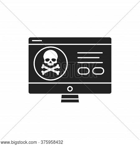 Computer Hacking Black Glyph Icon. Attempt To Exploit A Computer System Or A Private Network Inside