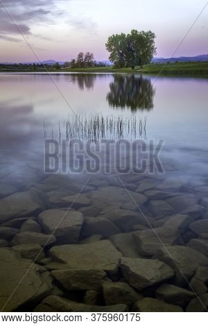 Tree Reflecting In The Colorado Lake At Sunrise With Boulders And Rocks In The Foreground