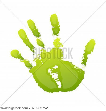 Hand Paint Print 3d, Isolated White Background. Green Human Palm And Fingers. Abstract Art Design, S