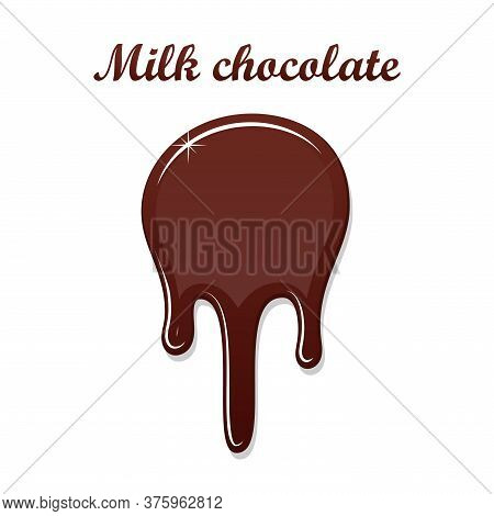 Chocolate Drip Splash. Chocolate Liquid Blot Isolated White Background. Shape Melt Dessert Spot. 3d