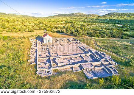 Pirovac. Ivinj Archeological Site With Saint Martin Church Aerial View, Dalmatia Region Of Croatia