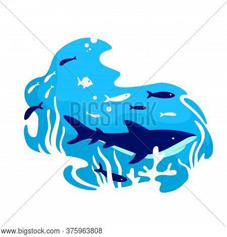 Underwater 2d Vector Web Banner, Poster. Whale Swim In Water. Marine Ecosystem. Tropical Ocean Fishe