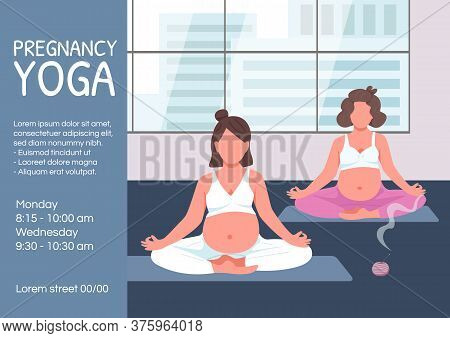 Pregnancy Yoga Poster Flat Vector Template. Expecting Mother Meditate In Lotus Pose. Brochure, Bookl