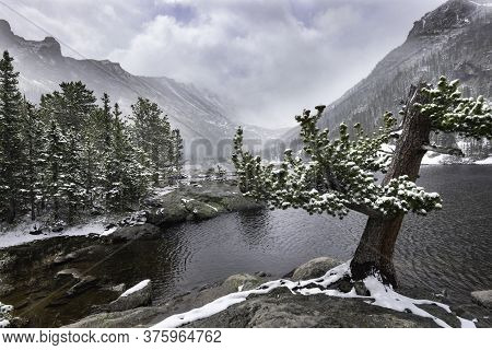 Wintery Weather At Mills Lake In Rocky Mountain Nationa Park