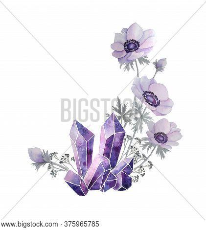 Watercolor Hand Drawn Illustration Of Violet Purple Lavender Gemstone Crystals Precious Semiprecious