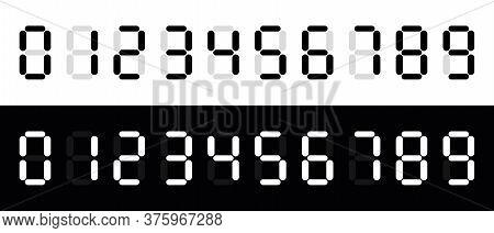 Calculator Digital Numbers. Digital Clock Number. Set Black And White Electronic Figures.