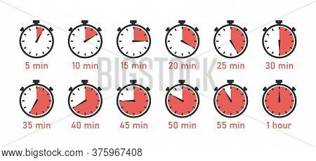 Countdown Timer, Clock, Stopwatch Vector Icons Set. Full Rotation Arrow Timer.